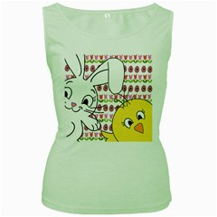 Easter bunny and chick  Women s Green Tank Top by Valentinaart