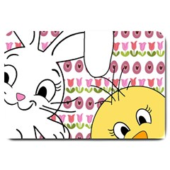 Easter Bunny And Chick  Large Doormat  by Valentinaart