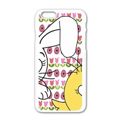 Easter Bunny And Chick  Apple Iphone 6/6s White Enamel Case by Valentinaart