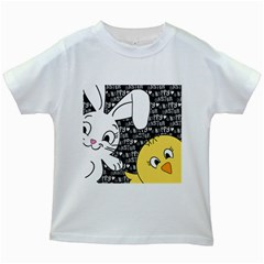 Easter Bunny And Chick  Kids White T Shirts by Valentinaart