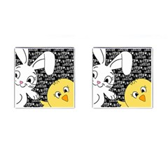 Easter Bunny And Chick  Cufflinks (square) by Valentinaart