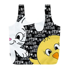 Easter Bunny And Chick  Full Print Recycle Bags (l)  by Valentinaart