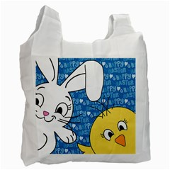 Easter Bunny And Chick  Recycle Bag (one Side) by Valentinaart