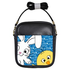 Easter Bunny And Chick  Girls Sling Bags by Valentinaart