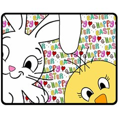 Easter Bunny And Chick  Fleece Blanket (medium)  by Valentinaart