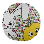 Easter bunny and chick  Large 18  Premium Round Cushions Front