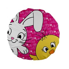 Easter Bunny And Chick  Standard 15  Premium Flano Round Cushions by Valentinaart