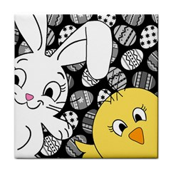 Easter Bunny And Chick  Tile Coasters by Valentinaart
