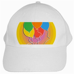 Birthday Party Balloons Colourful Cartoon Illustration Of A Bunch Of Party Balloon White Cap by Nexatart