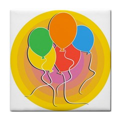 Birthday Party Balloons Colourful Cartoon Illustration Of A Bunch Of Party Balloon Tile Coasters by Nexatart