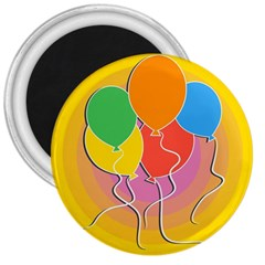 Birthday Party Balloons Colourful Cartoon Illustration Of A Bunch Of Party Balloon 3  Magnets by Nexatart
