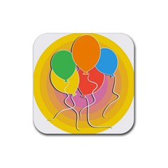 Birthday Party Balloons Colourful Cartoon Illustration Of A Bunch Of Party Balloon Rubber Square Coaster (4 Pack)  by Nexatart