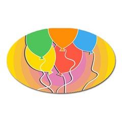 Birthday Party Balloons Colourful Cartoon Illustration Of A Bunch Of Party Balloon Oval Magnet by Nexatart