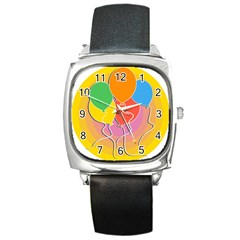 Birthday Party Balloons Colourful Cartoon Illustration Of A Bunch Of Party Balloon Square Metal Watch by Nexatart