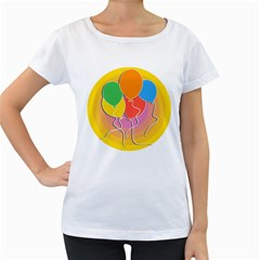 Birthday Party Balloons Colourful Cartoon Illustration Of A Bunch Of Party Balloon Women s Loose Fit T Shirt (white)