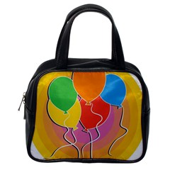 Birthday Party Balloons Colourful Cartoon Illustration Of A Bunch Of Party Balloon Classic Handbags (one Side)