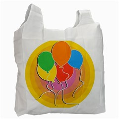 Birthday Party Balloons Colourful Cartoon Illustration Of A Bunch Of Party Balloon Recycle Bag (one Side) by Nexatart