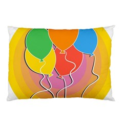 Birthday Party Balloons Colourful Cartoon Illustration Of A Bunch Of Party Balloon Pillow Case (two Sides) by Nexatart