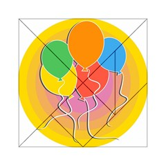 Birthday Party Balloons Colourful Cartoon Illustration Of A Bunch Of Party Balloon Acrylic Tangram Puzzle (6  X 6 )
