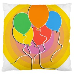 Birthday Party Balloons Colourful Cartoon Illustration Of A Bunch Of Party Balloon Large Cushion Case (two Sides) by Nexatart