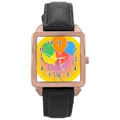 Birthday Party Balloons Colourful Cartoon Illustration Of A Bunch Of Party Balloon Rose Gold Leather Watch  by Nexatart
