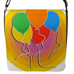 Birthday Party Balloons Colourful Cartoon Illustration Of A Bunch Of Party Balloon Flap Messenger Bag (s) by Nexatart