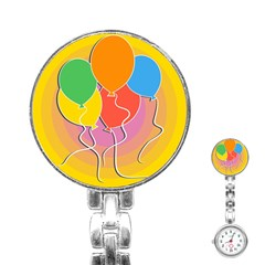 Birthday Party Balloons Colourful Cartoon Illustration Of A Bunch Of Party Balloon Stainless Steel Nurses Watch by Nexatart