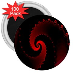 Red Fractal Spiral 3  Magnets (100 Pack) by Nexatart