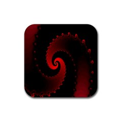 Red Fractal Spiral Rubber Square Coaster (4 Pack)  by Nexatart