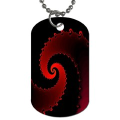 Red Fractal Spiral Dog Tag (one Side) by Nexatart