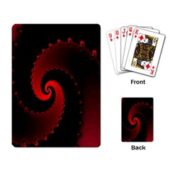 Red Fractal Spiral Playing Card by Nexatart