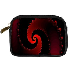 Red Fractal Spiral Digital Camera Cases by Nexatart