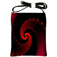 Red Fractal Spiral Shoulder Sling Bags by Nexatart