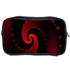 Red Fractal Spiral Toiletries Bags 2 Side by Nexatart