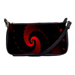 Red Fractal Spiral Shoulder Clutch Bags