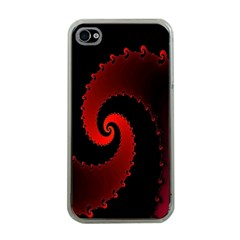 Red Fractal Spiral Apple Iphone 4 Case (clear) by Nexatart