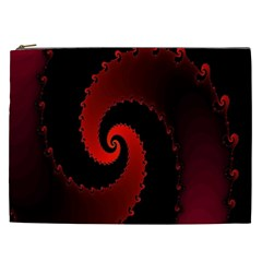 Red Fractal Spiral Cosmetic Bag (xxl)