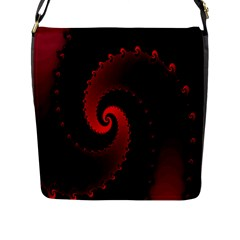 Red Fractal Spiral Flap Messenger Bag (l)  by Nexatart