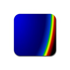 Blue Wallpaper With Rainbow Rubber Coaster (square)  by Nexatart