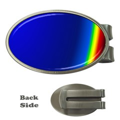 Blue Wallpaper With Rainbow Money Clips (oval)