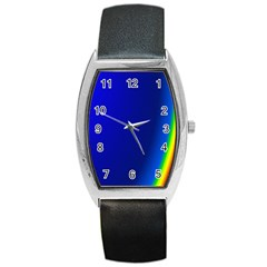 Blue Wallpaper With Rainbow Barrel Style Metal Watch by Nexatart