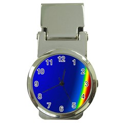 Blue Wallpaper With Rainbow Money Clip Watches by Nexatart