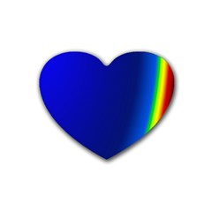 Blue Wallpaper With Rainbow Rubber Coaster (heart)  by Nexatart