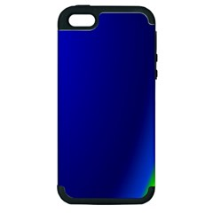Blue Wallpaper With Rainbow Apple Iphone 5 Hardshell Case (pc+silicone)