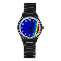 Blue Wallpaper With Rainbow Stainless Steel Round Watch
