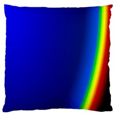 Blue Wallpaper With Rainbow Large Flano Cushion Case (two Sides) by Nexatart
