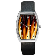 Dark Flame Pattern Barrel Style Metal Watch by Nexatart