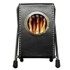 Dark Flame Pattern Pen Holder Desk Clocks