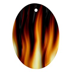 Dark Flame Pattern Oval Ornament (two Sides) by Nexatart