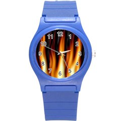 Dark Flame Pattern Round Plastic Sport Watch (s) by Nexatart